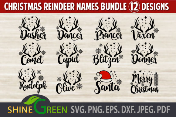 Print on Demand: Reindeer Names Bundle Christmas Ornament Graphic Crafts By ShineGreenArt
