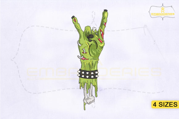Rock N Roll Zombie Hand Halloween Embroidery Design By RoyalEmbroideries