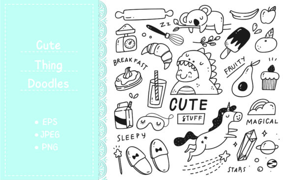 Set of Cute Things Doodles Graphic Illustrations By Big Barn Doodles