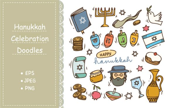 Set of Hanukkah Doodle Graphic Illustrations By Big Barn Doodles
