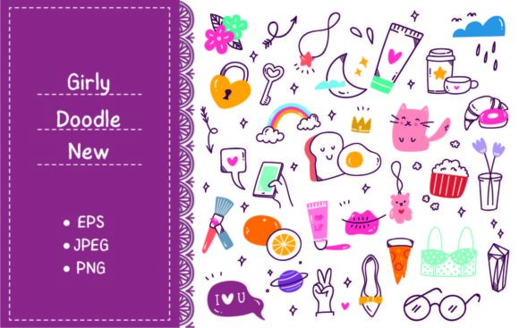 Set of Vector Cute Girly Doodles Graphic Illustrations By Big Barn Doodles