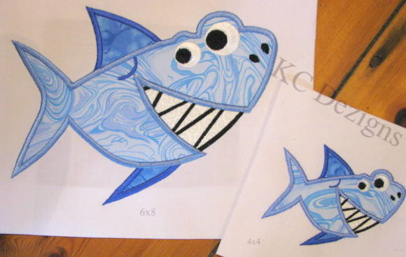 Smiley Shark Boys & Girls Embroidery Design By karen50