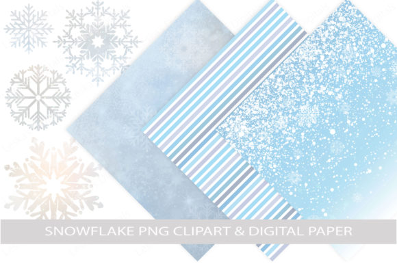 Snowflake Digital Paper & Clipart Graphic Illustrations By LeskaHamatyDesign