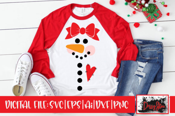 Snowgirl with Bow Graphic Illustrations By DrissyStore