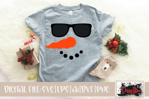 Snowman Face with Sunglasses Graphic Crafts By DrissyStore