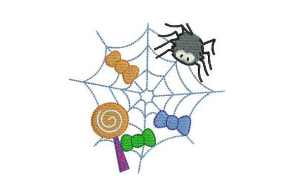 Spider Web with Candies Halloween Embroidery Design By BabyNucci Embroidery Designs