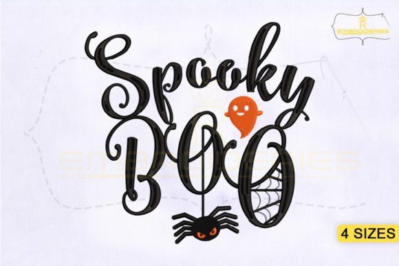 Spooky Spider Boo Halloween Embroidery Design By RoyalEmbroideries