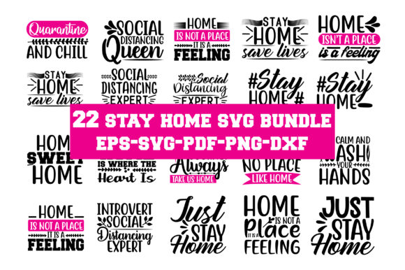 Print on Demand: Stay Home Svg Bundle Graphic Crafts By Graphics Home.net
