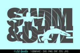 Print on Demand: Swim & Dive Silhouette Word Art SVG PNG Graphic Illustrations By 212 Fonts