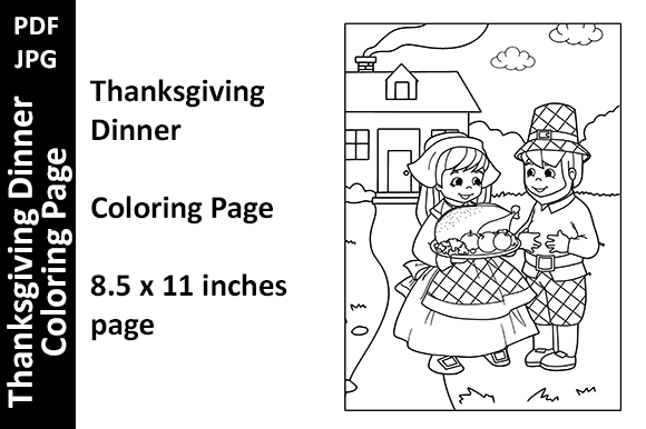 Thanksgiving Dinner - Coloring Page Graphic Coloring Pages & Books Kids By Oxyp