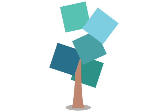 Print on Demand: Tree Greenish Blue Square Illustration Graphic Illustrations By isalnesia