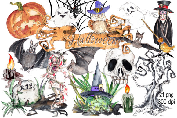 Watercolor Halloween Bundle Graphic Illustrations By arevkasunshine