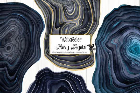 Print on Demand: Watercolor Navy Agate Grafik Illustrationen von Digital Curio