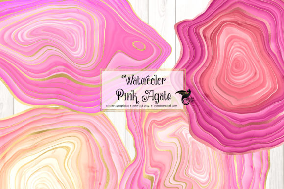 Print on Demand: Watercolor Pink Agate Graphic Illustrations By Digital Curio