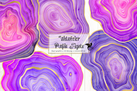 Print on Demand: Watercolor Purple Agate Clipart Graphic Illustrations By Digital Curio