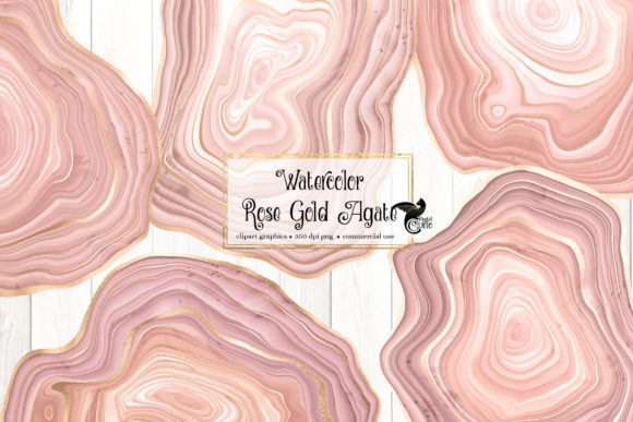 Print on Demand: Watercolor Rose Gold Agate Clipart Graphic Illustrations By Digital Curio