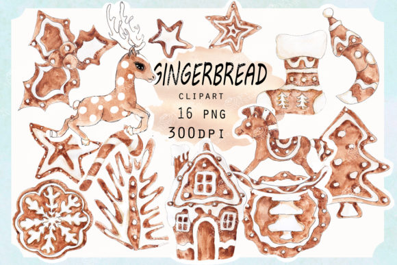 Watercolor Gingerbread Cliparts Graphic Illustrations By arevkasunshine