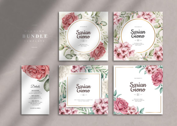 Wedding Card Template Bundle Graphic Print Templates By STWstudio