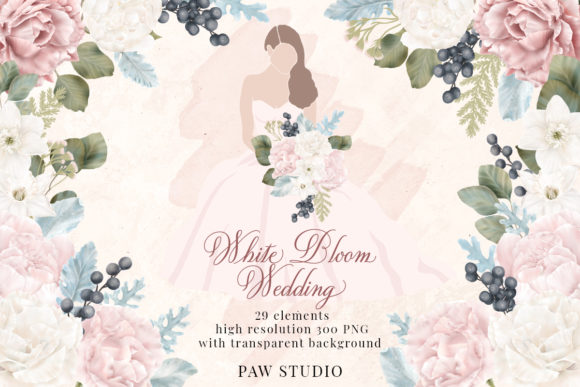 Print on Demand: White Pink Flowers Winter Leaves Wedding Graphic Illustrations By PawStudio