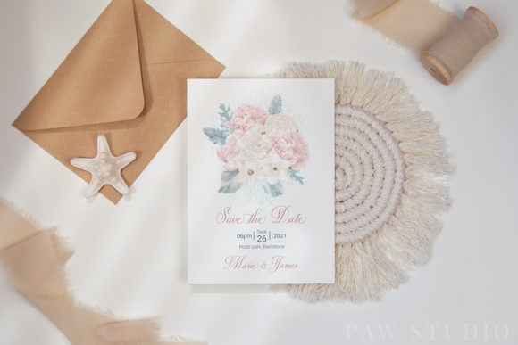 White Pink Flowers Winter Leaves Wedding Graphic Preview