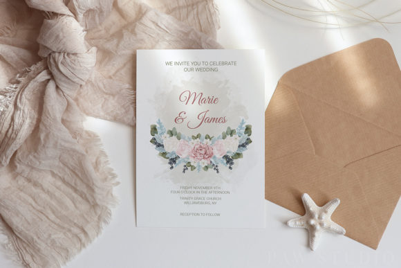 White Pink Flowers Winter Leaves Wedding Graphic Design Item