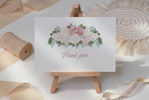 White Pink Flowers Winter Leaves Wedding Graphic Downloadable Digital File