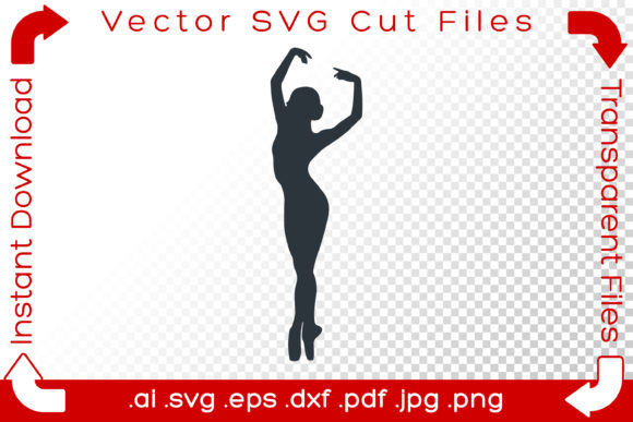 Print on Demand: Woman Ballet Dancer SVG Silhouette Pose Graphic Illustrations By iBearToo