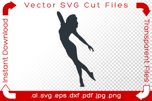 Print on Demand: Woman SVG Silhouette Acrobat Dancer Yoga Graphic Illustrations By iBearToo