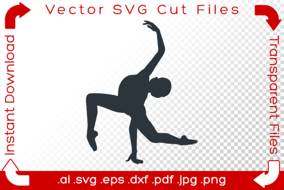 Print on Demand: Woman SVG Silhouette Ballet Dancer Yoga Graphic Illustrations By iBearToo