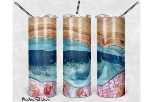 Print on Demand: Wooden Marble 20oz Skinny Tumbler Design Graphic Crafts By Mockup Station