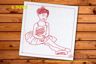 Young Beautiful Sitting Ballerina Dance & Drama Embroidery Design By Redwork101