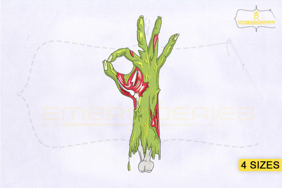 Zombie Hand Okay Sign Design Halloween Embroidery Design By RoyalEmbroideries