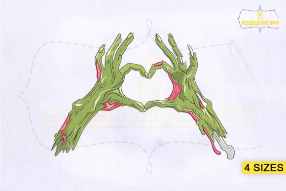 Zombie Hands Love Heart Halloween Embroidery Design By RoyalEmbroideries