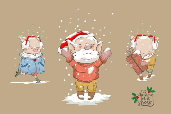 Happy Cute Animal in Snowy Christmas Graphic Illustrations By onoborgol
