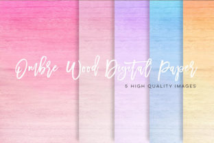 Print on Demand: Ombre Wood Texture Paper Pack, Clip Art Graphic Illustrations By SunflowerLove
