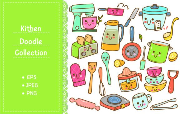Set of Kawaii Kitchen Equipment Doodles Graphic Illustrations By Big Barn Doodles