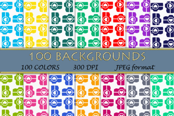100 Camera Pattern Digital Papers Graphic Backgrounds By SweetDesign