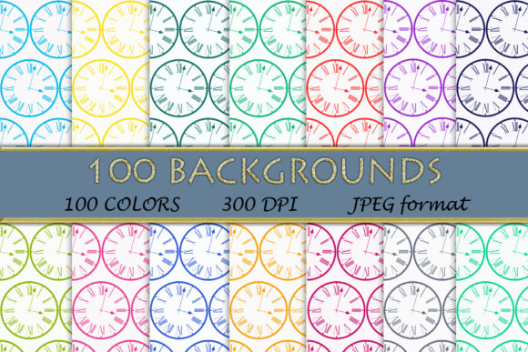 100 Clock Pattern Digital Papers Graphic Backgrounds By SweetDesign