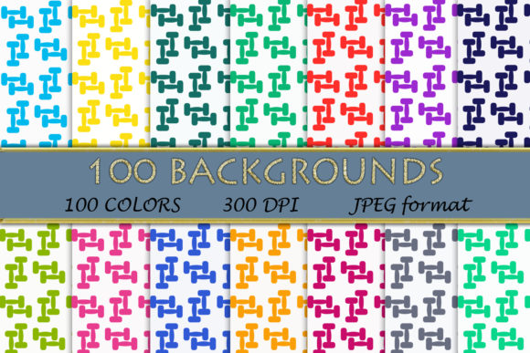 100 Dumbbells Pattern Digital Papers Graphic Backgrounds By SweetDesign