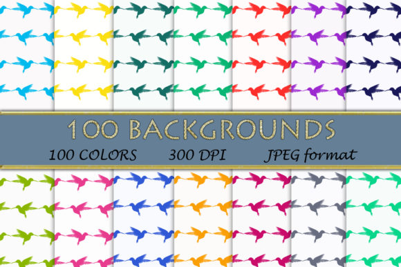 100 Humming Bird Pattern Digital Papers Graphic Backgrounds By SweetDesign