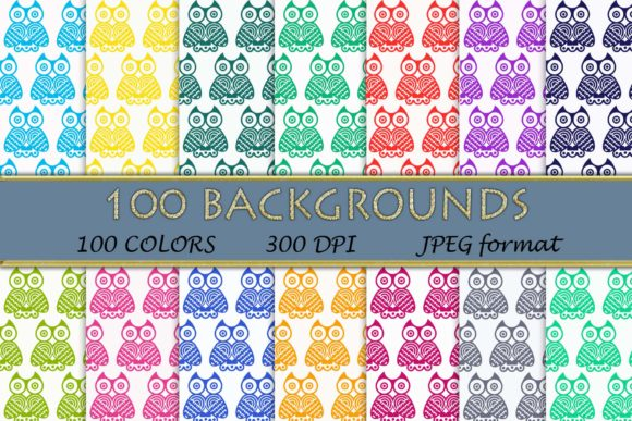 100 Owl Pattern,Owl Digital Papers Graphic Backgrounds By SweetDesign