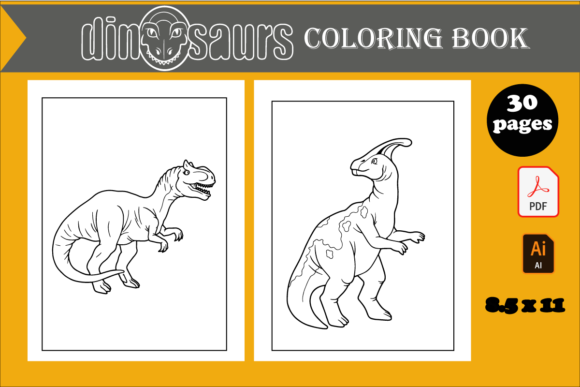 30 Cute Dinosaurs Coloring Page for Kids Graphic KDP Interiors By KDP_DESIGN