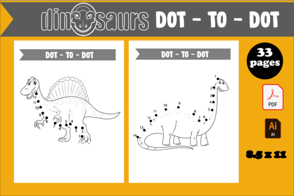 33 Dinosaur Dot to Dot Pages for Kids Graphic KDP Interiors By KDP_DESIGN