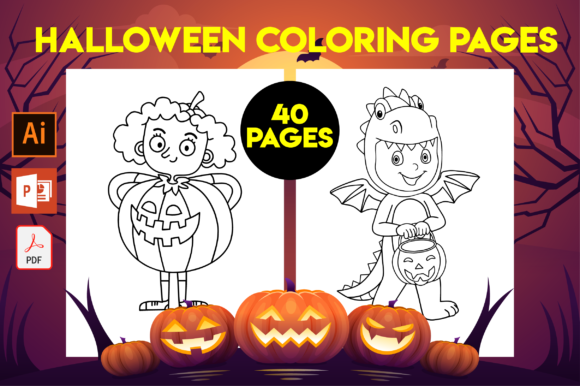 40 Halloween Coloring Pages for Kids Graphic Coloring Pages & Books Kids By MK DESIGN