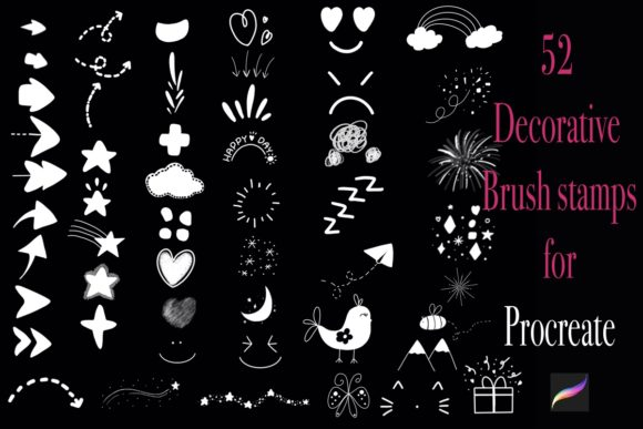 52 Decorative Procreate Brush Stamps Graphic Brushes By Temtemdesign