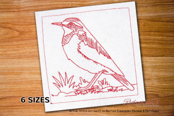 African Pied Wagtail Redwork Birds Embroidery Design By Redwork101