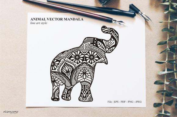 Print on Demand: Animal Vector Mandala Line Art Style 05 Graphic Crafts By Ahsancomp Studio