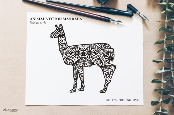 Print on Demand: Animal Vector Mandala Line Art Style 07 Graphic Crafts By Ahsancomp Studio