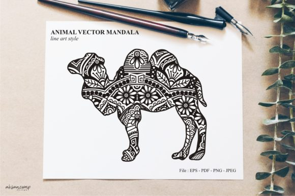 Print on Demand: Animal Vector Mandala Line Art Style 08 Graphic Crafts By Ahsancomp Studio