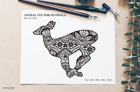 Print on Demand: Animal Vector Mandala Line Art Style 12 Graphic Crafts By Ahsancomp Studio